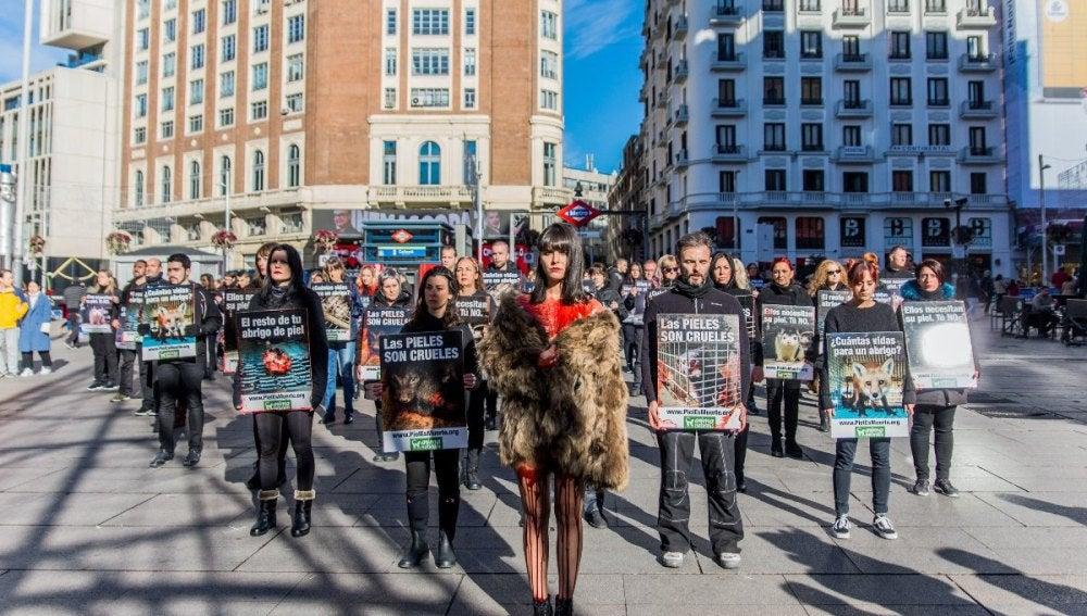 Protesta de AnimaNaturalis en Madrid