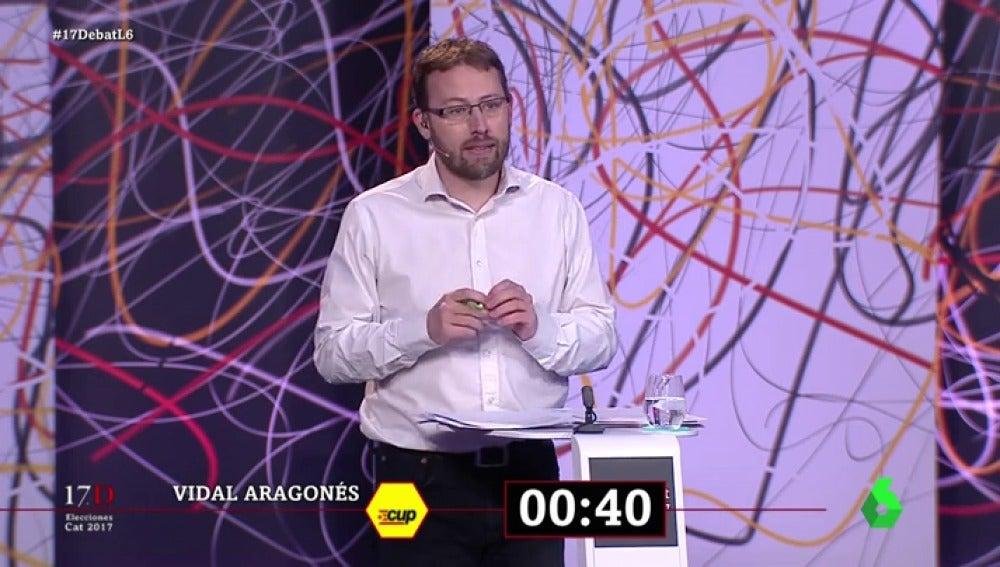 """El minuto final de Vidal Aragonés (CUP) en El Debat: """"Ponemos lo mejor de nuestra vida para construir la república catalana"""""""