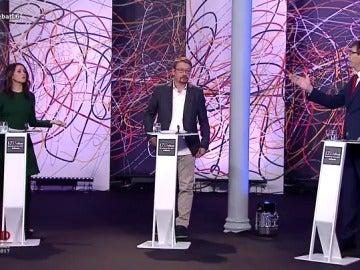 Inés Arrimadas, Xavier Domènech y Xavier García Albiol