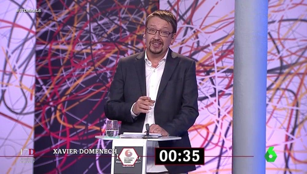"""El minuto final de Xavier Domènech en El Debat: """"No quieres a tu tierra cuando la haces desigual y la divides"""""""