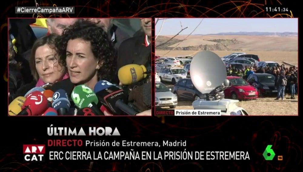 Marta Rovira ante la cárcel de Estremera