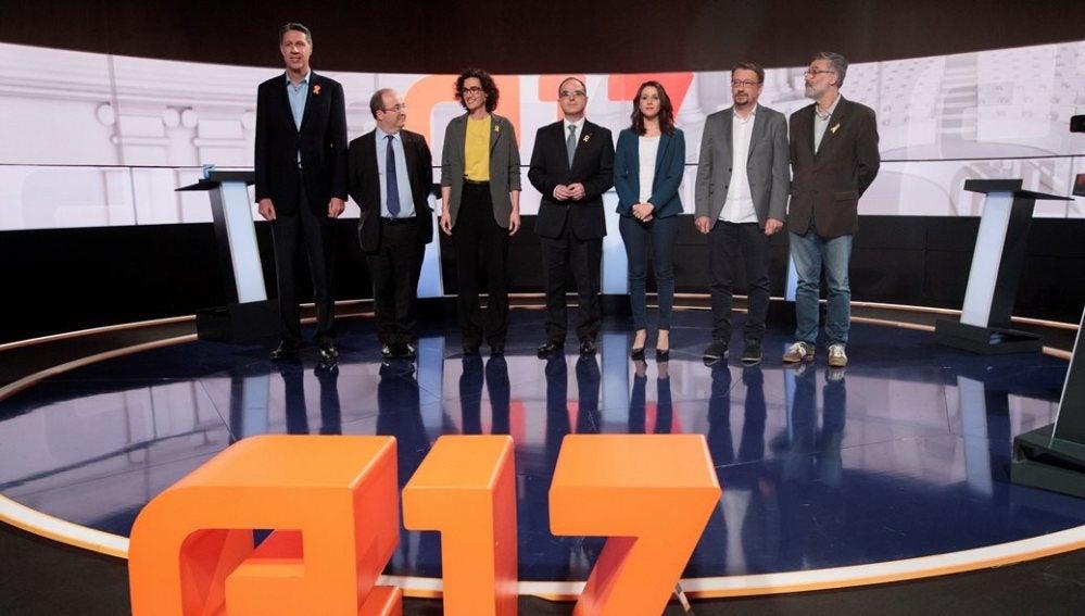Los candidatos independentistas y constitucionalistas en un debate en TV3