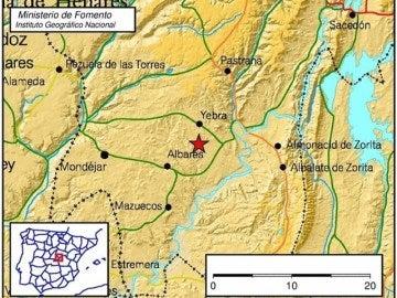 Epicentro del terremoto en Yebra