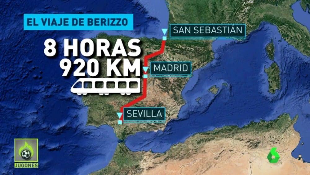 La odisea de Berizzo para llegar a San Sebastián: 9 horas y casi 1.000 km