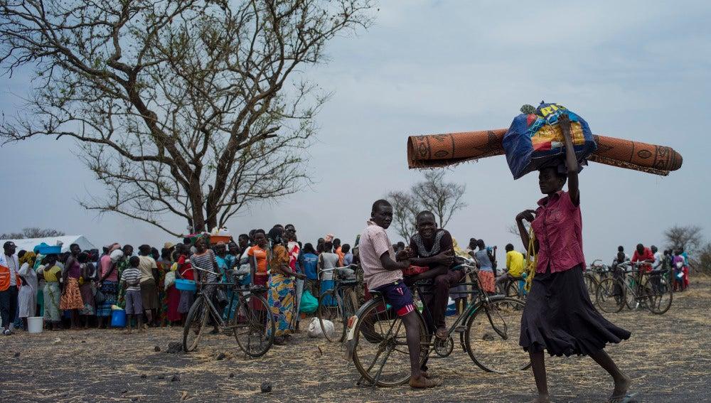 un grupo de desplazados de la República Democrática del Congo