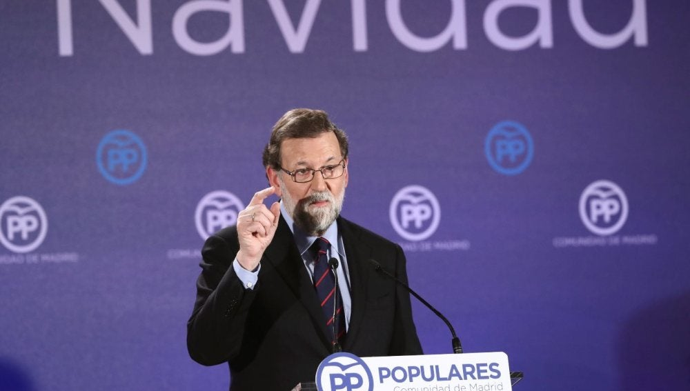 Mariano Rajoy durante la cena de navidad del PP