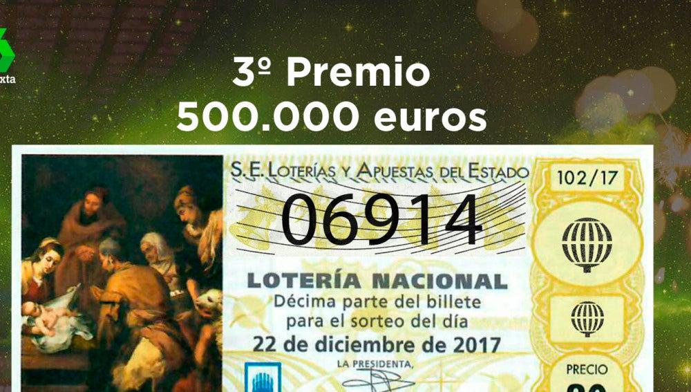 06.914, tercer premio del Sotero de Lotería de Navidad