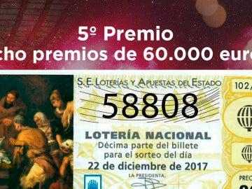 58.808, quinto premio de la lotería de Navidad