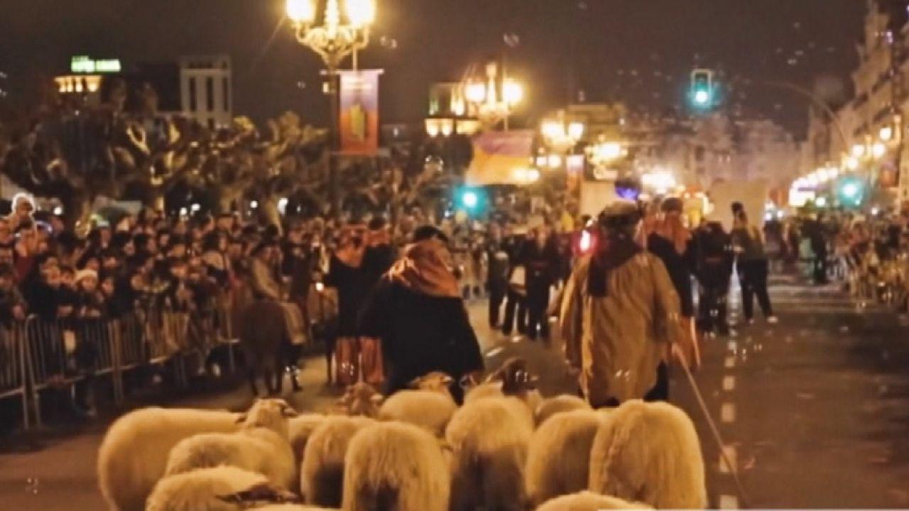 Ovejas en una cabalgata de Reyes