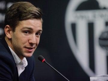 Vietto, en su presentación con el Valencia