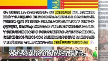 El mensaje que han publicado los ultras para hacer un boicot a la Cabalgata de Reinas Magas en Valencia