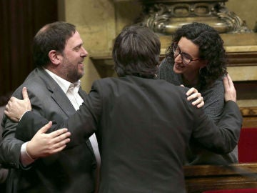 Oriol Junqueras, Carles Puigdemont y Marta Rovira
