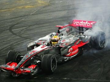 Hamilton, a bordo del McLaren campeón de 2008