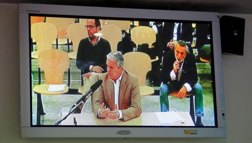 Vista desde un monitor de la sala de prensa de la Audiencia Nacional