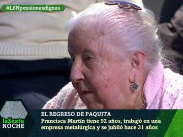 Paquita, pensionista de 92 años