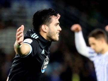 Maxi Gómez celebra su gol contra la Real Sociedad