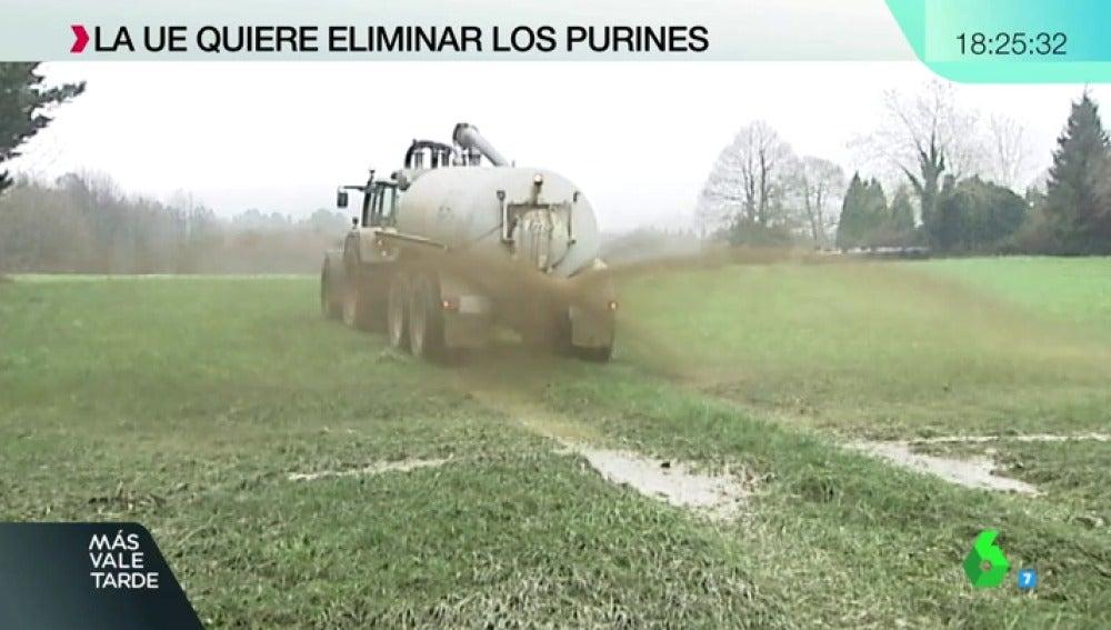 Camión echando purín en un campo