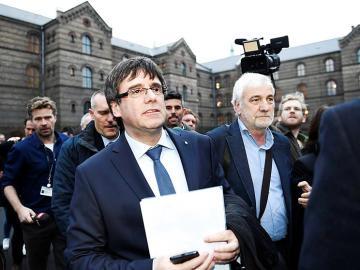 Carles Puigdemont, a su llegada para participar en un coloquio organizado por la Universidad de Copenhague