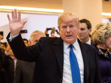 Donald Trump a su llegada al Foro Económico Mundial que se celebra en Davos, Suiza