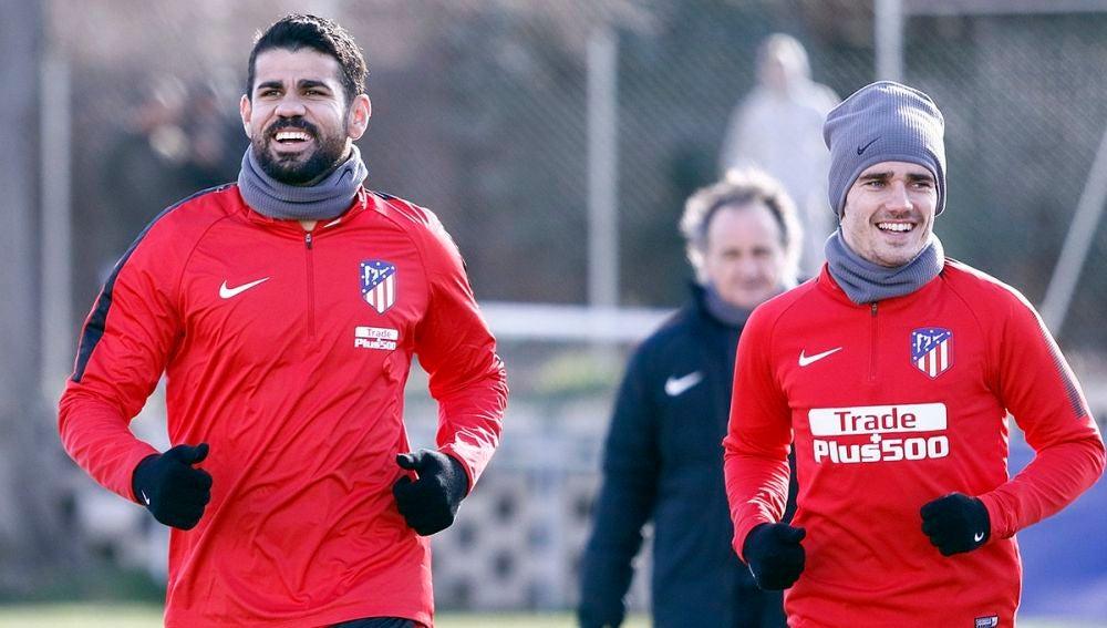 Diego Costa, con Griezmann