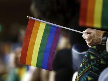 Bandera arcoíris en defensa de colectivo LGTBi