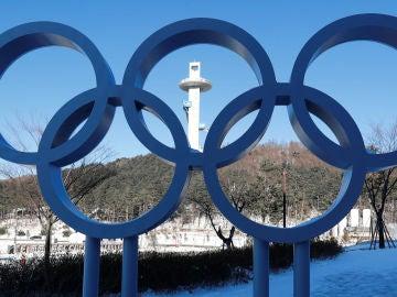 Los aros olímpicos, en Corea del Sur