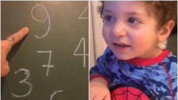 El hijo de Parejo aprende los números con los jugadores del Valencia
