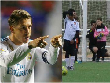 Sergio Ramos aplaude el gesto de un árbitro con un benjamín