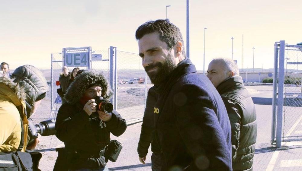 Roger Torrent a su salida de la prisión madrileña de Estremera
