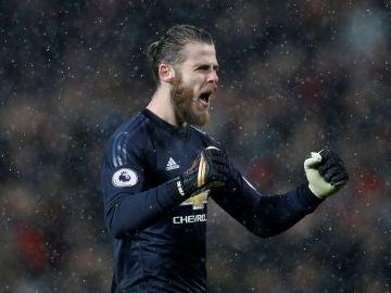 De Gea celebra un gol del Manchester United