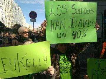 Una imagen de la manifestación en Barcelona
