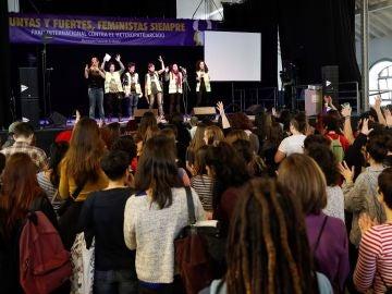 El movimiento feminista de Madrid celebra un 'eventazo', para apoyar la huelga feminista del próximo 8 de marzo, en el Matadero de Madrid