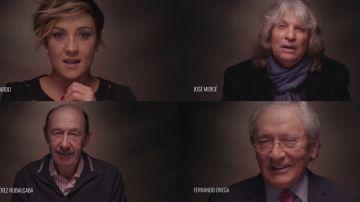 Cristina Pardo, José Mercé, Alfredo Pérez Rubalcaba y Fernando Ónega