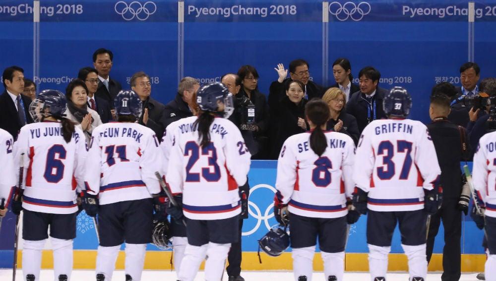 Las jugadoras de hockey de Corea