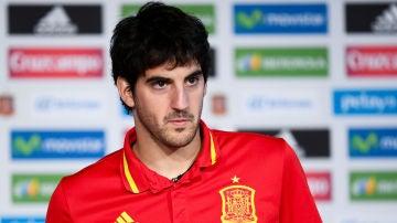 Mikel San José, en una concentración de la selección española