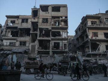 Edificio de Ghouta Oriental destruido por los bombardeos