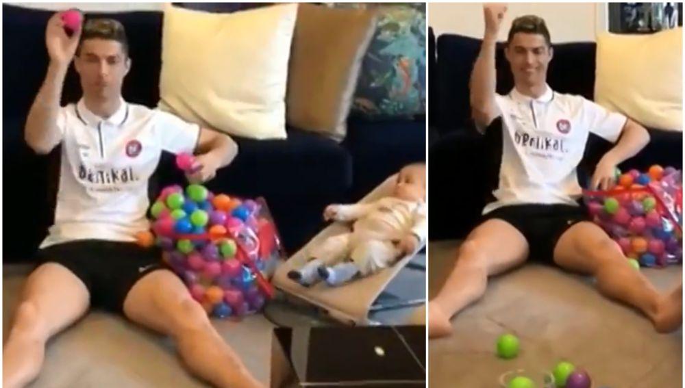 Original juego de Cristiano mientras cuida de su hijo