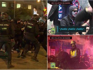 Los ultras del PSG durante su estancia en Madrid
