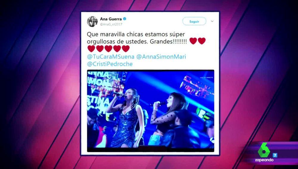 La felicitación de Aitana y Ana Guerra a Anna Simon y Cristina Pedroche tras su interpretación de 'Lo malo' en Tu Cara Me Suena