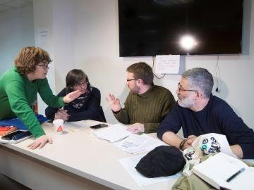 Eulalia Reguant, Mireia Boya, Vidal Aragonés y Carles Riera, durante la reunión del consejo político de la CUP