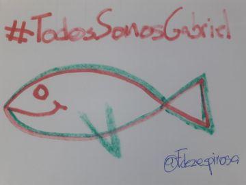 El dibujo de un pez en apoyo al pequeño Gabriel Cruz