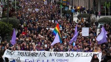 Manifestación feminista en el centro de Vigo