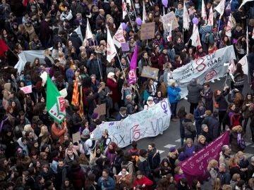 Manifestación feminista en Barcelona