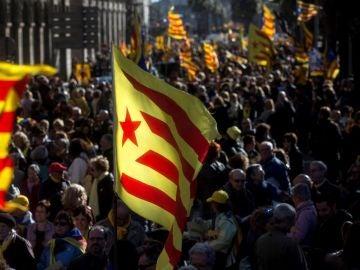 Manifestación en Barcelona a favor de la república catalana
