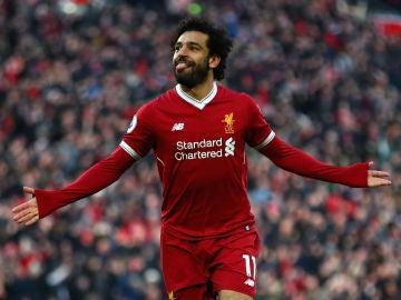 Mohamed Salah celebra un gol con el Liverpool