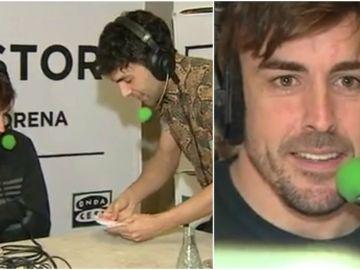 Fernando Alonso alucina con los trucos de magia del Mago Pop