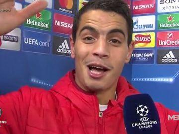 Ben Yedder canta el himno del Sevilla tras el pase a cuartos de la Champions