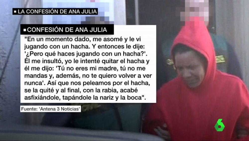 """La confesión de Ana Julia Quezada: """"Nos peleamos por el hacha, se la quité y al final, con la rabia, acabé asfixiándole tapándole la nariz y la boca"""""""
