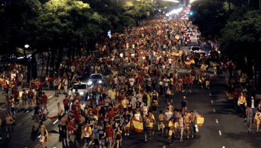 Celebración en las calles de Madrid de la Eurocopa 2012