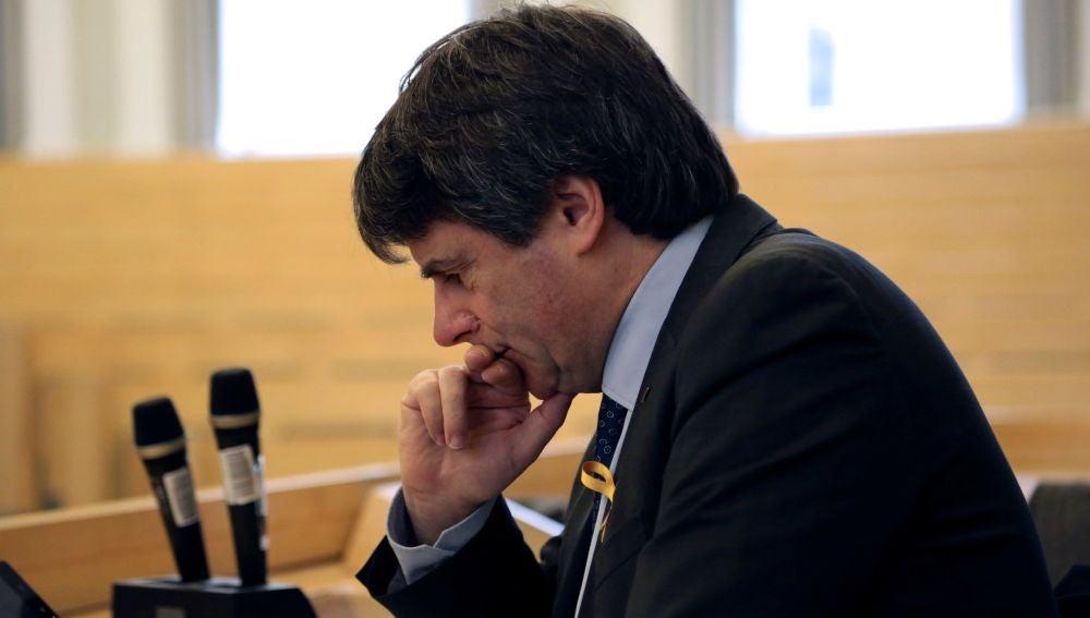 Carles Puigdemont antes de pronunciar una conferencia en la Universidad de Helsinki